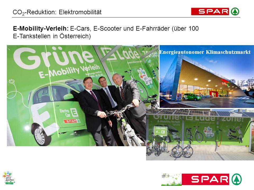 CO 2 -Reduktion: Elektromobilität E-Mobility-Verleih: E-Cars, E-Scooter und E-Fahrräder (über 100 E-Tankstellen in Österreich) Energieautonomer Klimas