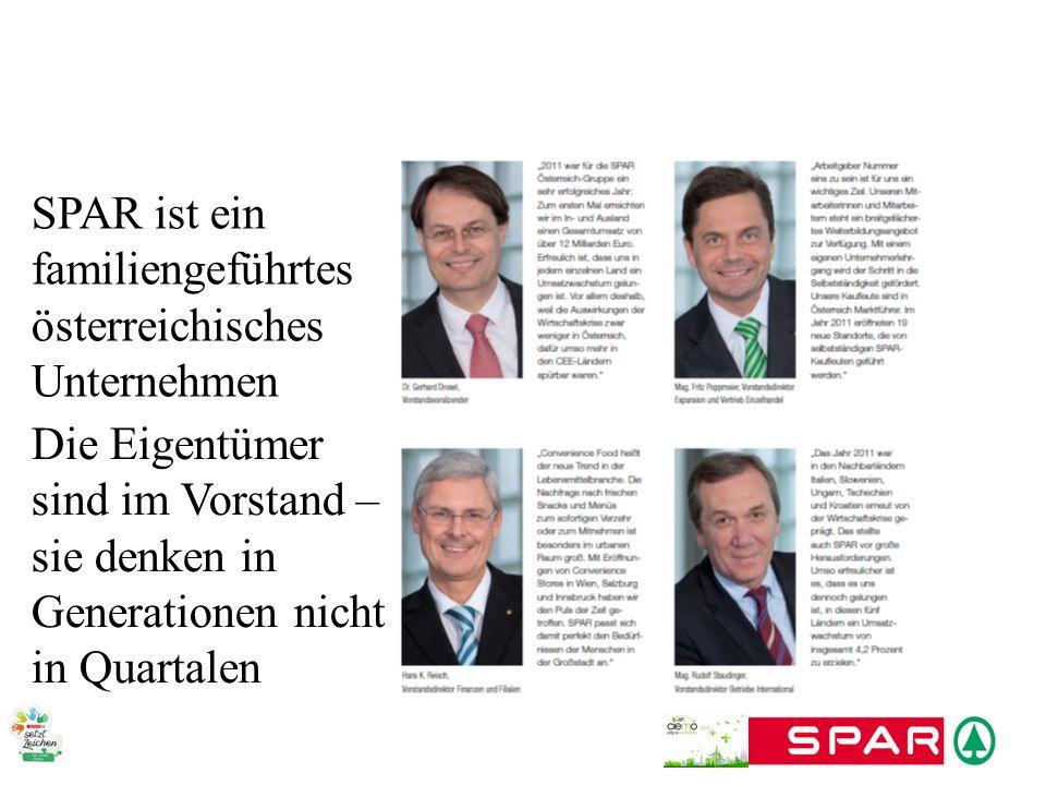 SPAR trägt Verantwortung für umweltfreundlichen Verkehr Pionier in E-Mobility 7 E-Autos + 1 Hybrid-LKW Bau von 100 E-Tankstellen in Österreich Verkauf von E-Bikes + Mitarbeiter-Aktionen für E-Fahrräder Verleih von E-Fahrzeugen Modellregion Wien Konsortialpartner