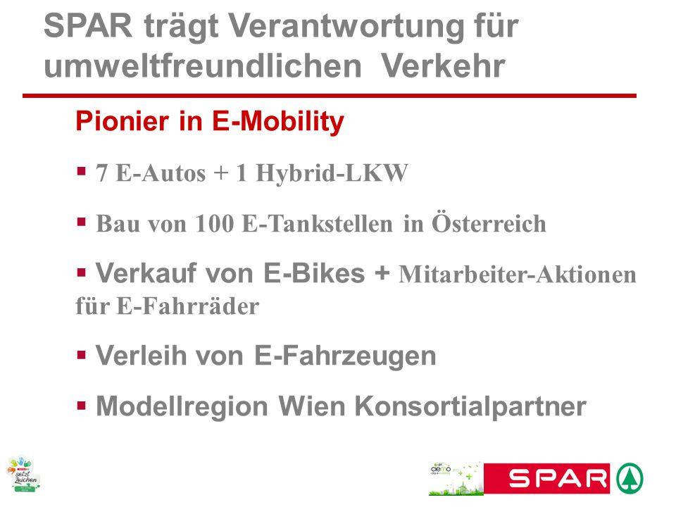 SPAR trägt Verantwortung für umweltfreundlichen Verkehr Pionier in E-Mobility 7 E-Autos + 1 Hybrid-LKW Bau von 100 E-Tankstellen in Österreich Verkauf