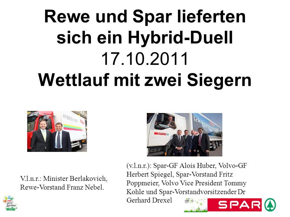 Rewe und Spar lieferten sich ein Hybrid-Duell 17.10.2011 Wettlauf mit zwei Siegern V.l.n.r.: Minister Berlakovich, Rewe-Vorstand Franz Nebel. (v.l.n.r