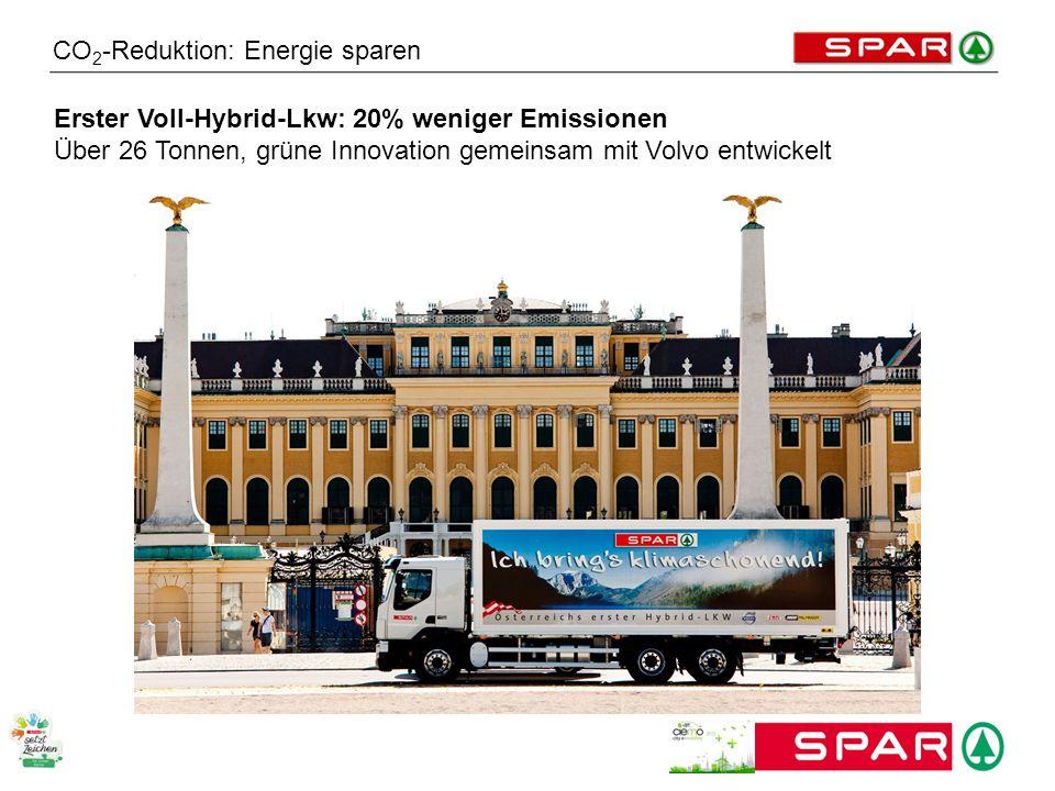 CO 2 -Reduktion: Energie sparen Erster Voll-Hybrid-Lkw: 20% weniger Emissionen Über 26 Tonnen, grüne Innovation gemeinsam mit Volvo entwickelt