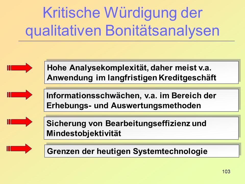 103 Kritische Würdigung der qualitativen Bonitätsanalysen Hohe Analysekomplexität, daher meist v.a.