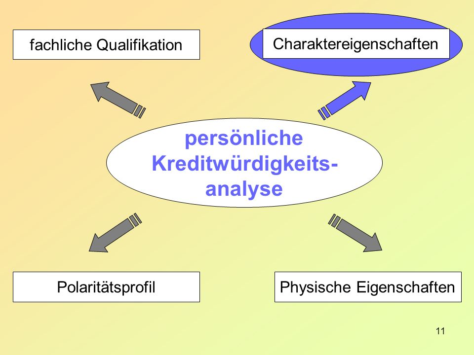 11 Charaktereigenschaften Physische Eigenschaften fachliche Qualifikation Polaritätsprofil persönliche Kreditwürdigkeits- analyse