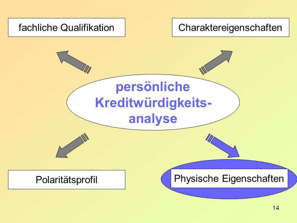 14 Charaktereigenschaften Physische Eigenschaften fachliche Qualifikation Polaritätsprofil persönliche Kreditwürdigkeits- analyse