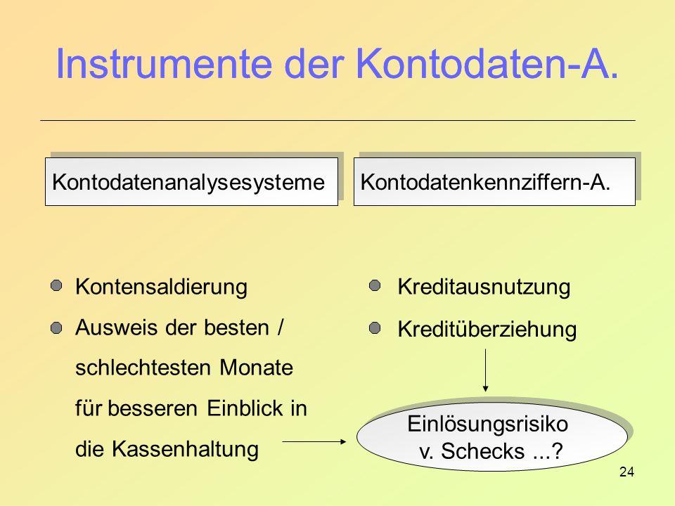 24 Instrumente der Kontodaten-A.Kontodatenanalysesysteme Kontodatenkennziffern-A.