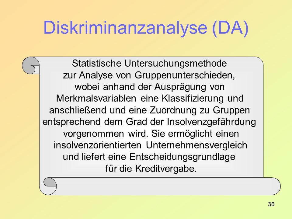 36 Statistische Untersuchungsmethode zur Analyse von Gruppenunterschieden, wobei anhand der Ausprägung von Merkmalsvariablen eine Klassifizierung und anschließend und eine Zuordnung zu Gruppen entsprechend dem Grad der Insolvenzgefährdung vorgenommen wird.