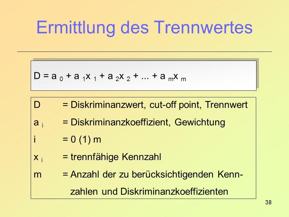 38 Ermittlung des Trennwertes D = a 0 + a 1 x 1 + a 2 x 2 +...