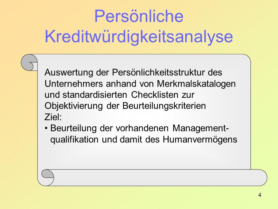 4 Persönliche Kreditwürdigkeitsanalyse Auswertung der Persönlichkeitsstruktur des Unternehmers anhand von Merkmalskatalogen und standardisierten Checklisten zur Objektivierung der Beurteilungskriterien Ziel: Beurteilung der vorhandenen Management- qualifikation und damit des Humanvermögens