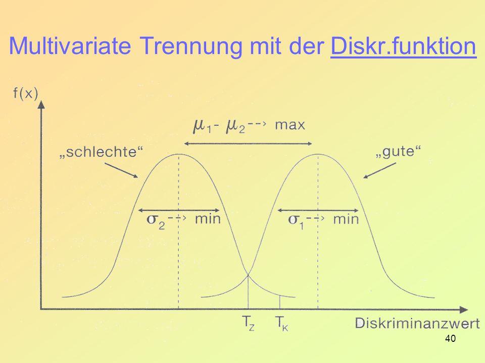 40 Multivariate Trennung mit der Diskr.funktion