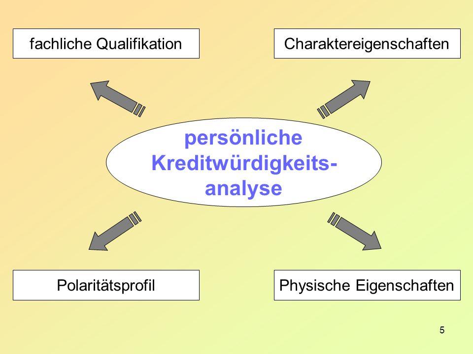 5 Charaktereigenschaften Physische Eigenschaften fachliche Qualifikation Polaritätsprofil persönliche Kreditwürdigkeits- analyse