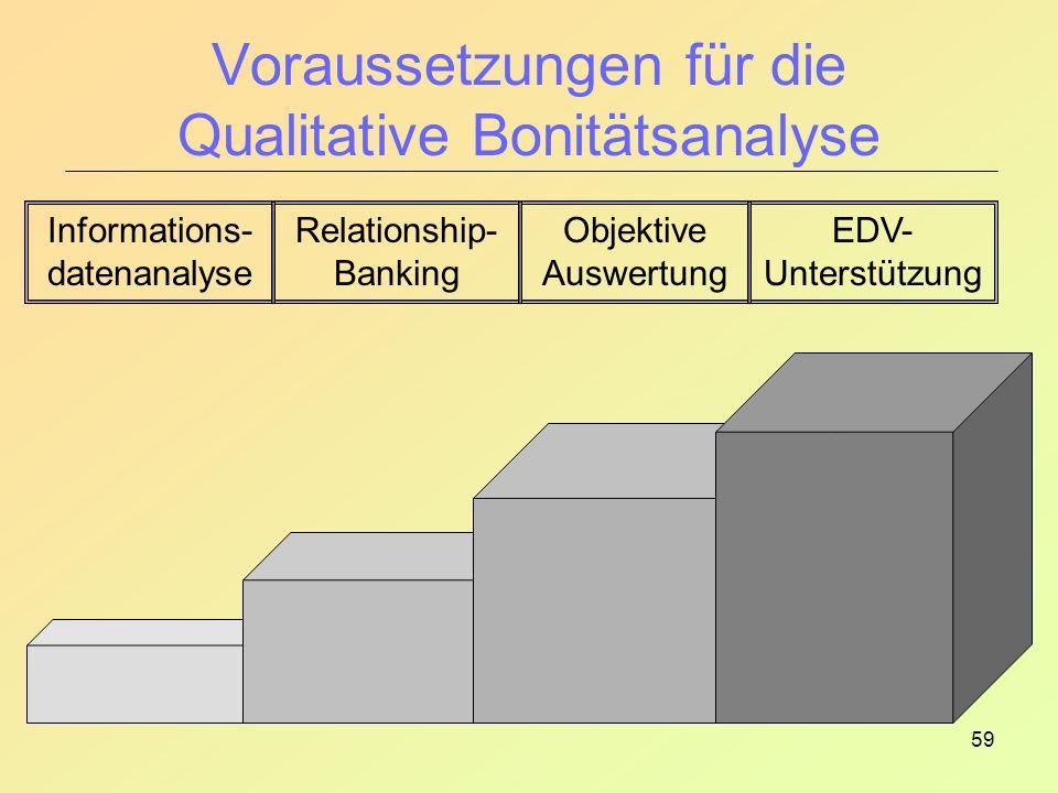 59 Voraussetzungen für die Qualitative Bonitätsanalyse Informations- datenanalyse Relationship- Banking Objektive Auswertung EDV- Unterstützung