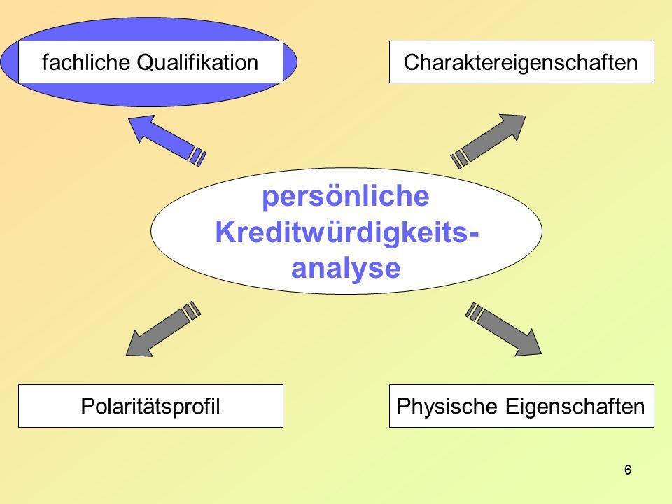 6 Charaktereigenschaften Physische Eigenschaften fachliche Qualifikation Polaritätsprofil persönliche Kreditwürdigkeits- analyse