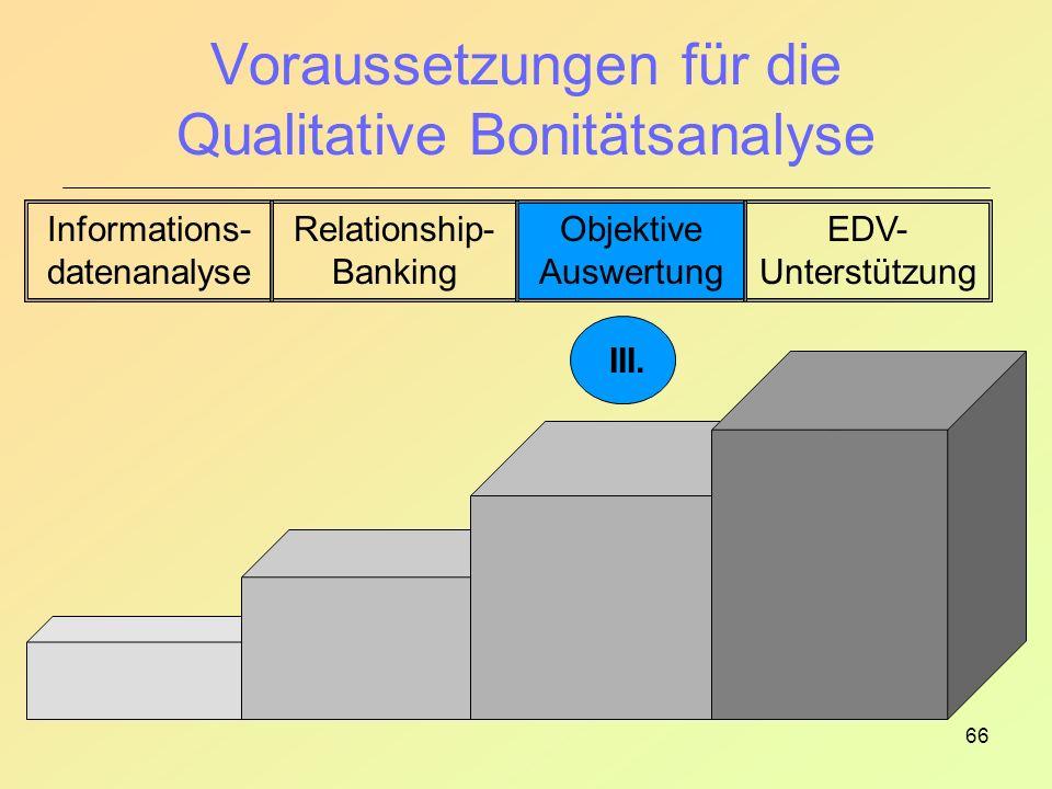 66 Voraussetzungen für die Qualitative Bonitätsanalyse Informations- datenanalyse Relationship- Banking Objektive Auswertung EDV- Unterstützung III.