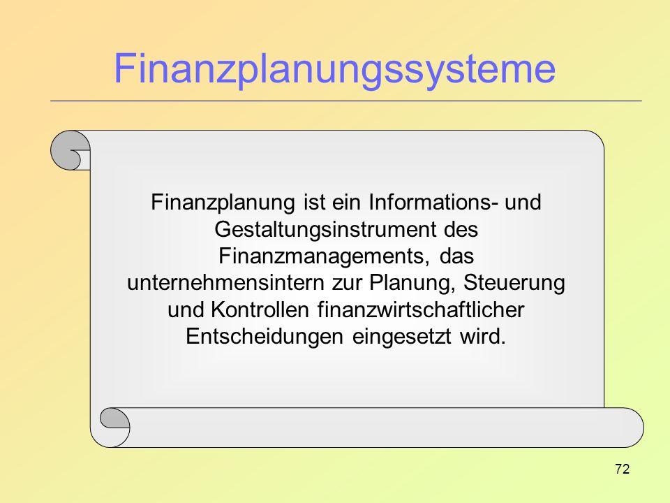 72 Finanzplanungssysteme Finanzplanung ist ein Informations- und Gestaltungsinstrument des Finanzmanagements, das unternehmensintern zur Planung, Steuerung und Kontrollen finanzwirtschaftlicher Entscheidungen eingesetzt wird.
