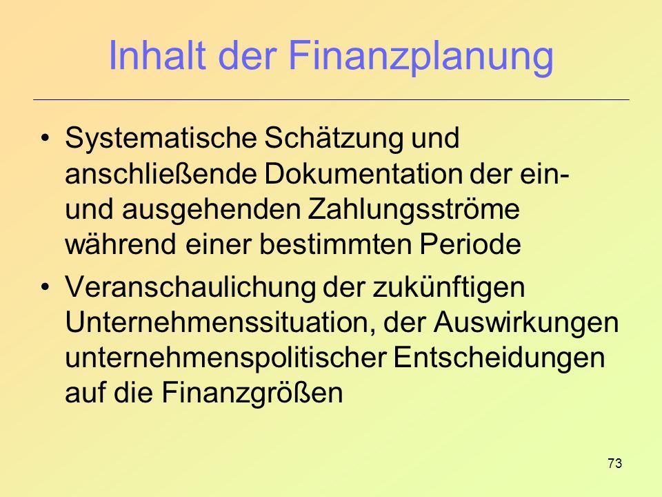 73 Inhalt der Finanzplanung Systematische Schätzung und anschließende Dokumentation der ein- und ausgehenden Zahlungsströme während einer bestimmten Periode Veranschaulichung der zukünftigen Unternehmenssituation, der Auswirkungen unternehmenspolitischer Entscheidungen auf die Finanzgrößen