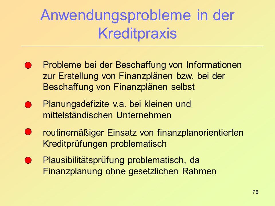 78 Anwendungsprobleme in der Kreditpraxis Probleme bei der Beschaffung von Informationen zur Erstellung von Finanzplänen bzw.