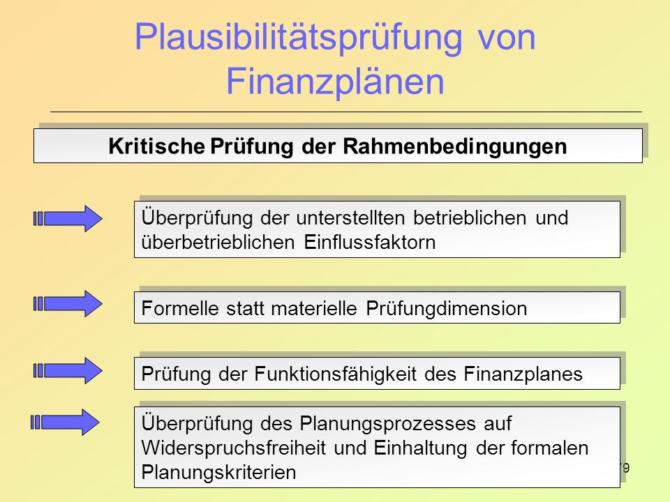 79 Plausibilitätsprüfung von Finanzplänen Kritische Prüfung der Rahmenbedingungen Überprüfung der unterstellten betrieblichen und überbetrieblichen Einflussfaktorn Formelle statt materielle Prüfungdimension Prüfung der Funktionsfähigkeit des Finanzplanes Überprüfung des Planungsprozesses auf Widerspruchsfreiheit und Einhaltung der formalen Planungskriterien