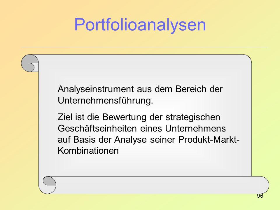 96 Portfolioanalysen Analyseinstrument aus dem Bereich der Unternehmensführung.