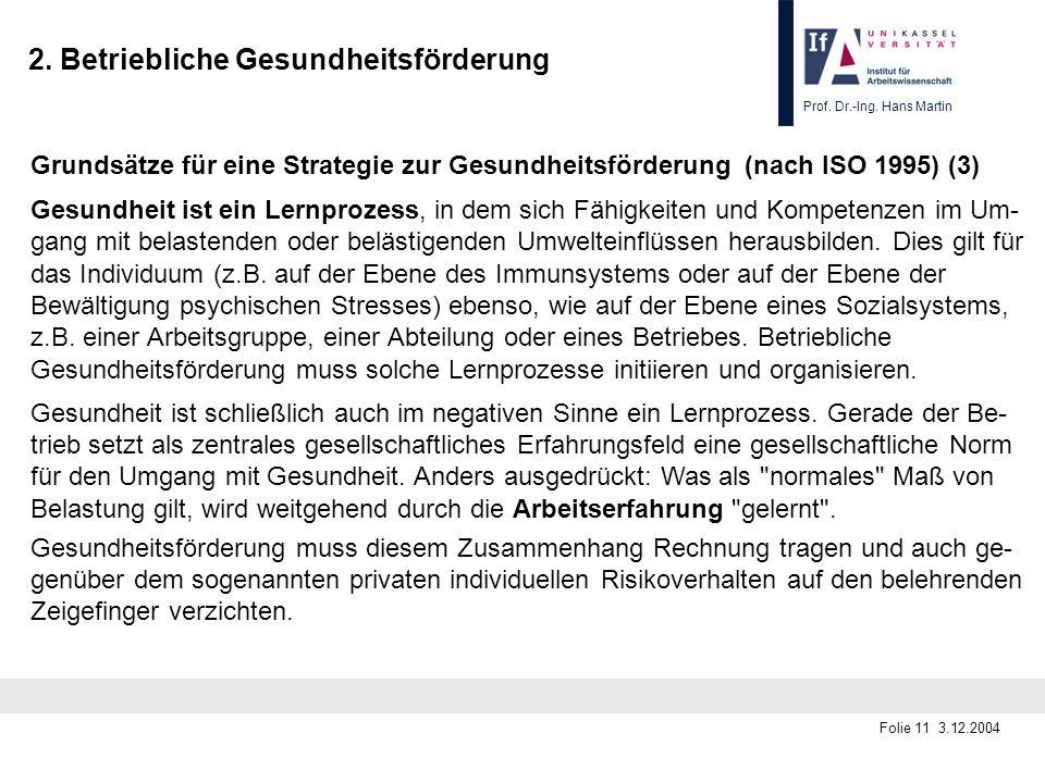 Prof. Dr.-Ing. Hans Martin Folie 11 3.12.2004 2. Betriebliche Gesundheitsförderung Grundsätze für eine Strategie zur Gesundheitsförderung (nach ISO 19