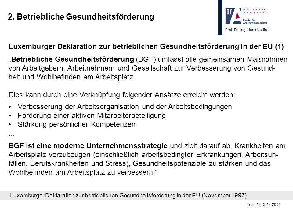 Prof. Dr.-Ing. Hans Martin Folie 12 3.12.2004 2. Betriebliche Gesundheitsförderung Luxemburger Deklaration zur betrieblichen Gesundheitsförderung in d