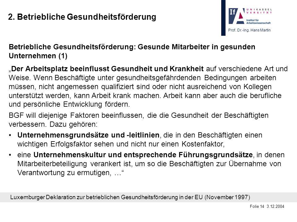 Prof. Dr.-Ing. Hans Martin Folie 14 3.12.2004 2. Betriebliche Gesundheitsförderung Betriebliche Gesundheitsförderung: Gesunde Mitarbeiter in gesunden