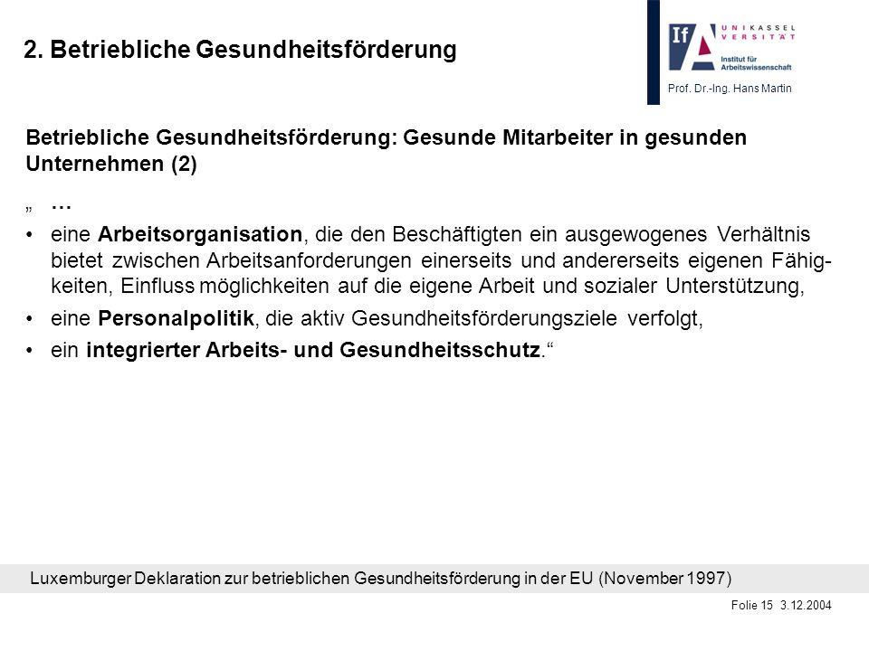 Prof. Dr.-Ing. Hans Martin Folie 15 3.12.2004 2. Betriebliche Gesundheitsförderung Betriebliche Gesundheitsförderung: Gesunde Mitarbeiter in gesunden