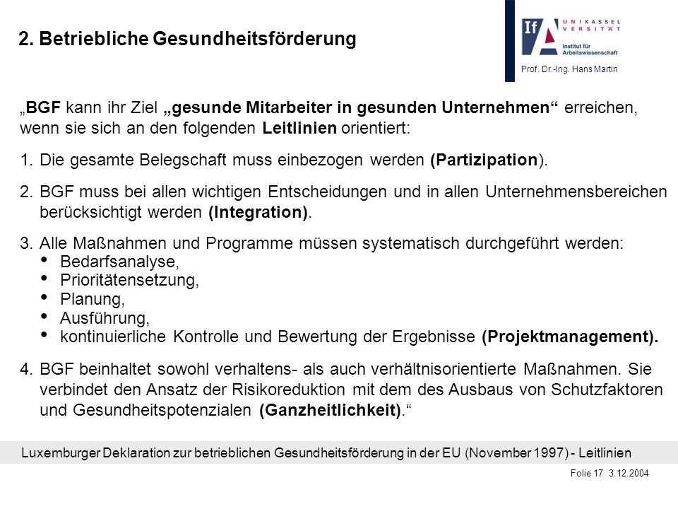 Prof. Dr.-Ing. Hans Martin Folie 17 3.12.2004 2. Betriebliche Gesundheitsförderung BGF kann ihr Ziel gesunde Mitarbeiter in gesunden Unternehmen errei