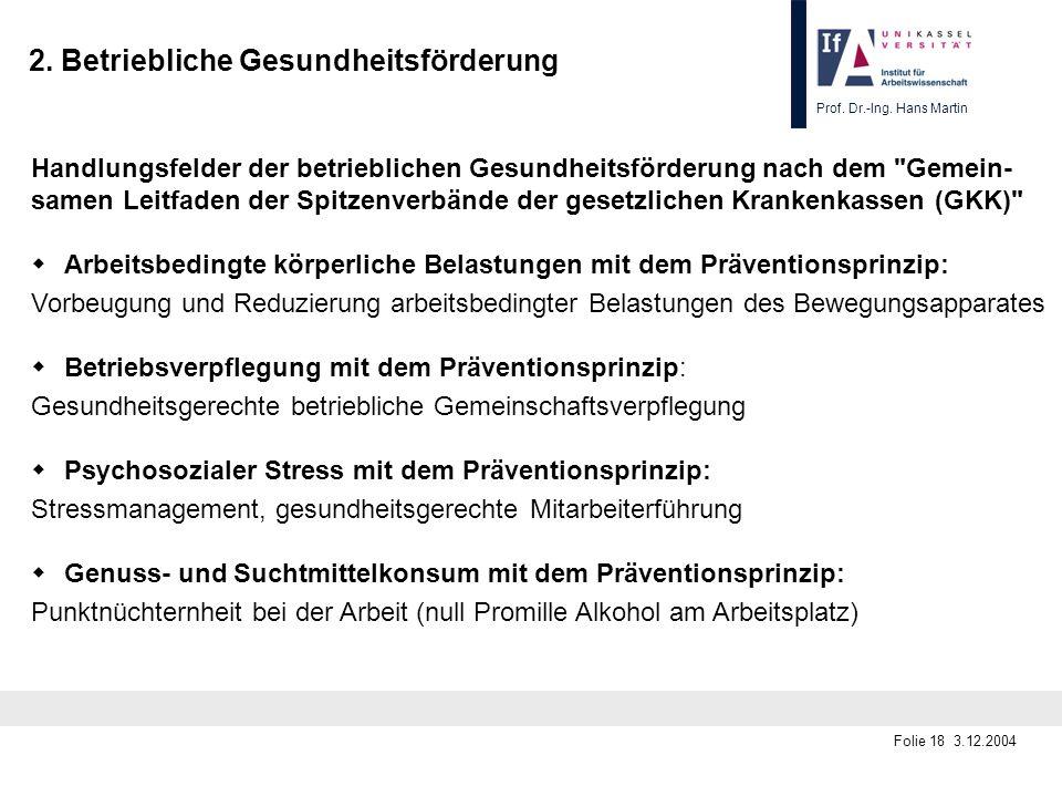 Prof. Dr.-Ing. Hans Martin Folie 18 3.12.2004 2. Betriebliche Gesundheitsförderung Handlungsfelder der betrieblichen Gesundheitsförderung nach dem