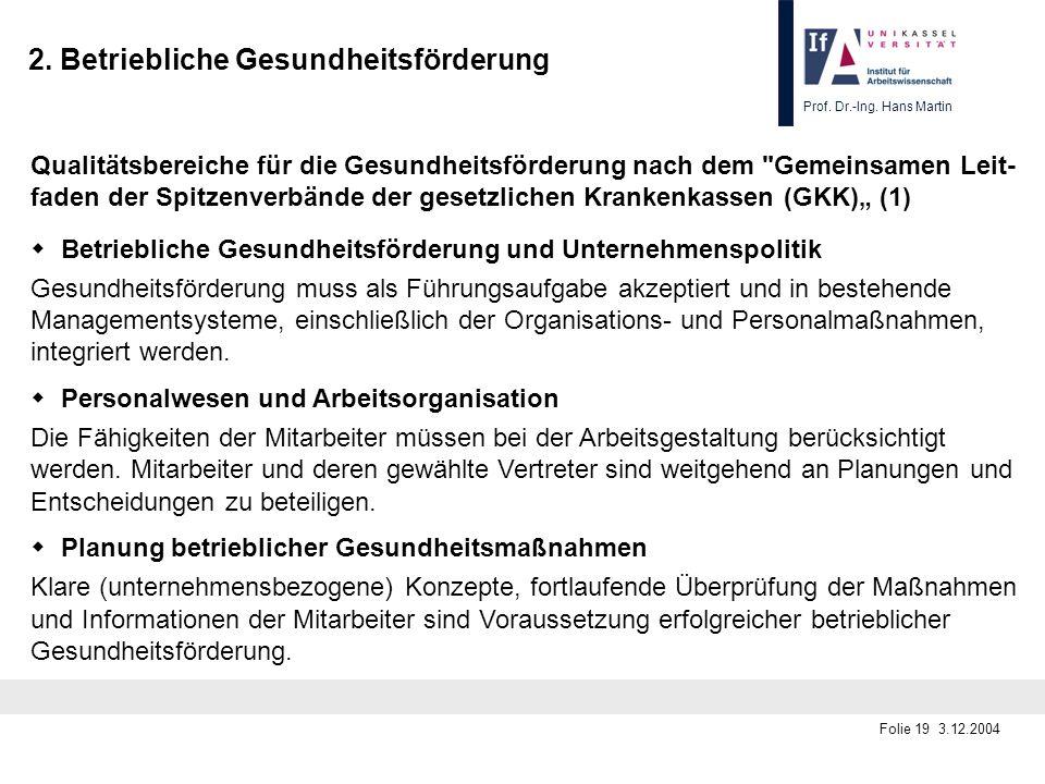 Prof. Dr.-Ing. Hans Martin Folie 19 3.12.2004 2. Betriebliche Gesundheitsförderung Qualitätsbereiche für die Gesundheitsförderung nach dem