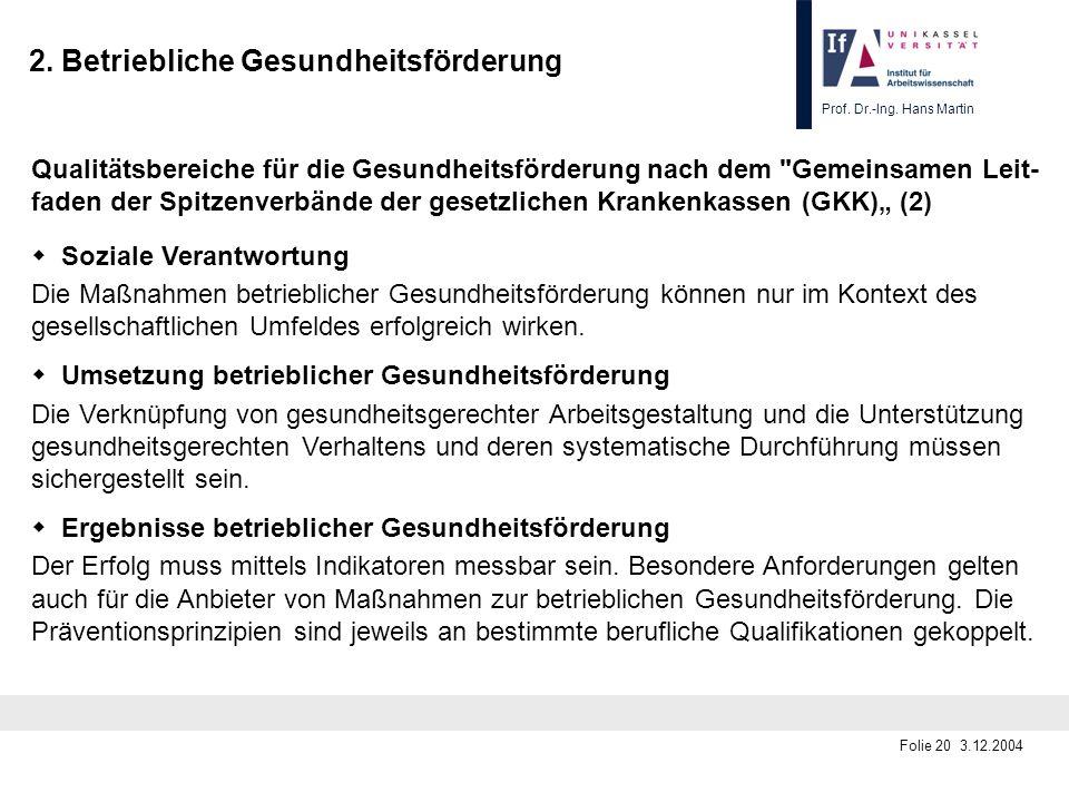 Prof. Dr.-Ing. Hans Martin Folie 20 3.12.2004 2. Betriebliche Gesundheitsförderung Qualitätsbereiche für die Gesundheitsförderung nach dem
