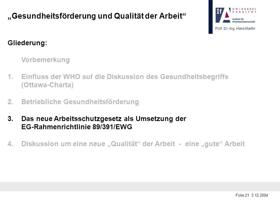 Prof. Dr.-Ing. Hans Martin Folie 21 3.12.2004 Gesundheitsförderung und Qualität der Arbeit Gliederung: Vorbemerkung 1.Einfluss der WHO auf die Diskuss