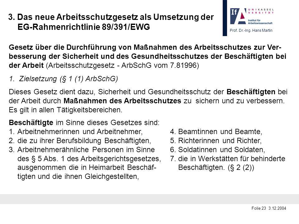 Prof. Dr.-Ing. Hans Martin Folie 23 3.12.2004 3. Das neue Arbeitsschutzgesetz als Umsetzung der EG-Rahmenrichtlinie 89/391/EWG Gesetz über die Durchfü