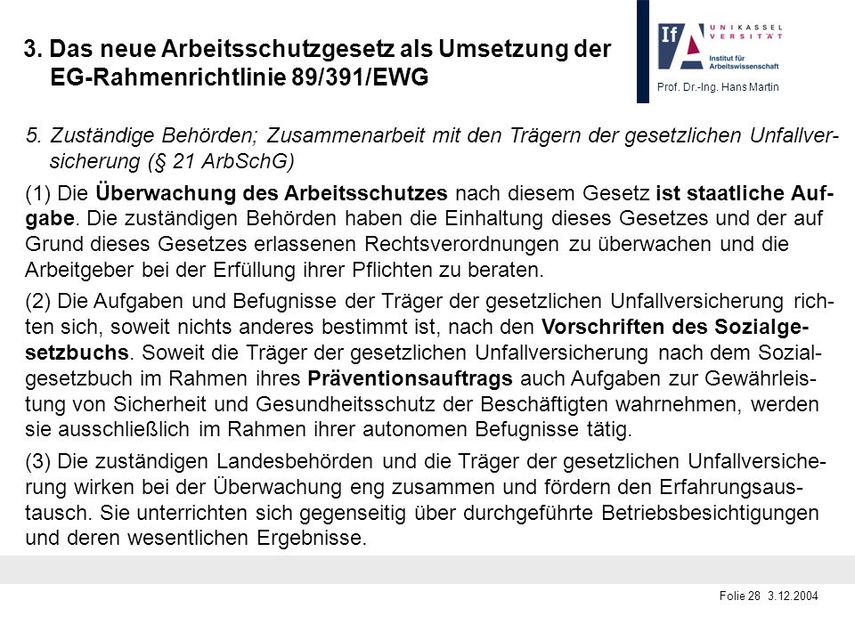 Prof. Dr.-Ing. Hans Martin Folie 28 3.12.2004 3. Das neue Arbeitsschutzgesetz als Umsetzung der EG-Rahmenrichtlinie 89/391/EWG 5.Zuständige Behörden;