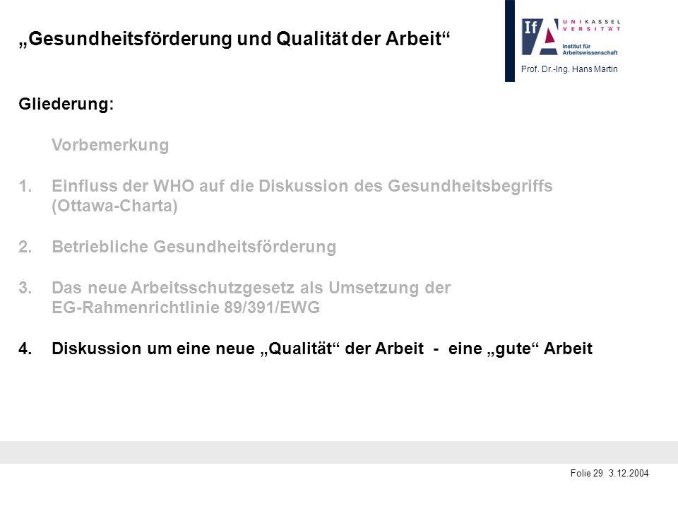 Prof. Dr.-Ing. Hans Martin Folie 29 3.12.2004 Gesundheitsförderung und Qualität der Arbeit Gliederung: Vorbemerkung 1.Einfluss der WHO auf die Diskuss
