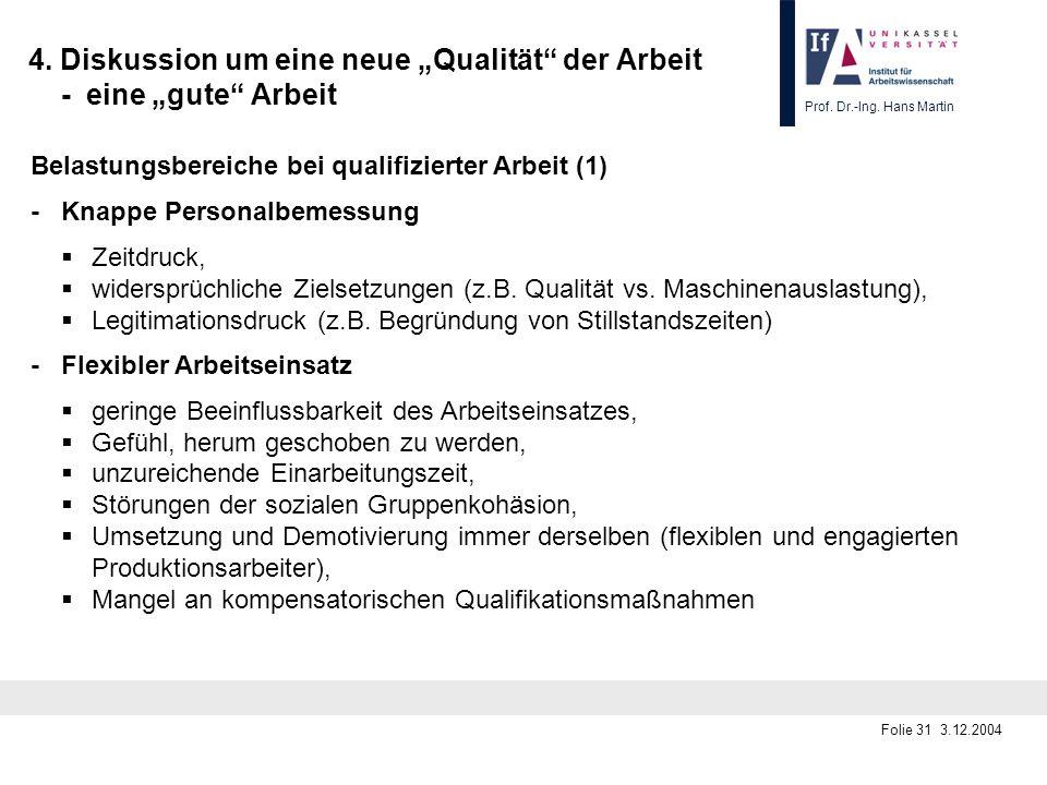 Prof. Dr.-Ing. Hans Martin Folie 31 3.12.2004 4. Diskussion um eine neue Qualität der Arbeit - eine gute Arbeit Belastungsbereiche bei qualifizierter