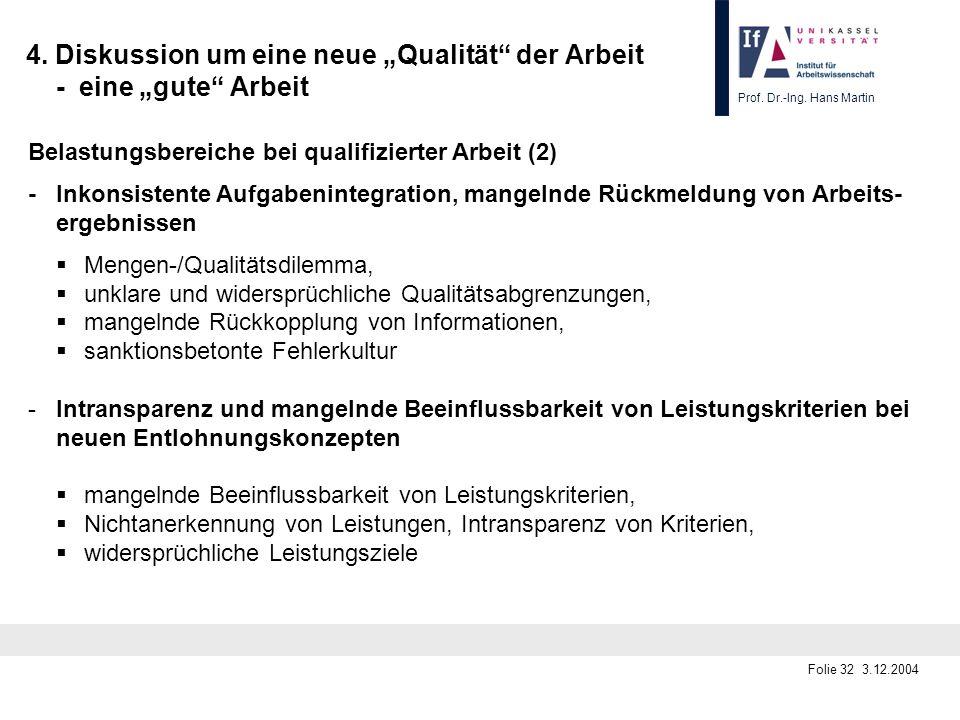 Prof. Dr.-Ing. Hans Martin Folie 32 3.12.2004 4. Diskussion um eine neue Qualität der Arbeit - eine gute Arbeit Belastungsbereiche bei qualifizierter