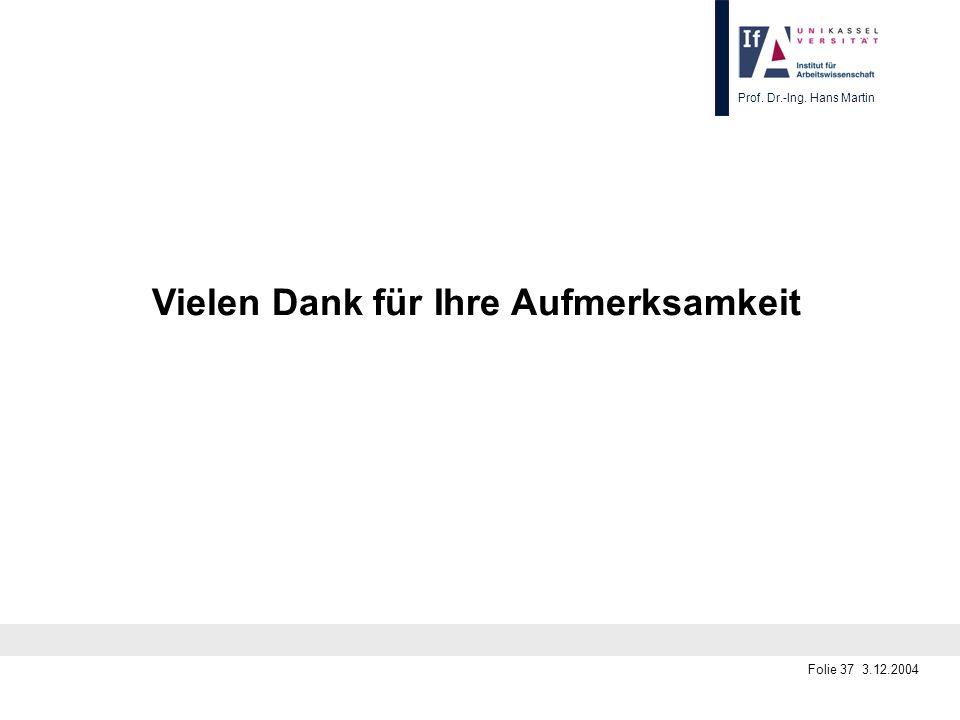 Prof. Dr.-Ing. Hans Martin Folie 37 3.12.2004 Vielen Dank für Ihre Aufmerksamkeit