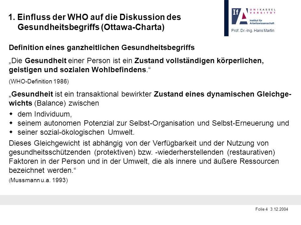 Prof. Dr.-Ing. Hans Martin Folie 4 3.12.2004 1. Einfluss der WHO auf die Diskussion des Gesundheitsbegriffs (Ottawa-Charta) Definition eines ganzheitl
