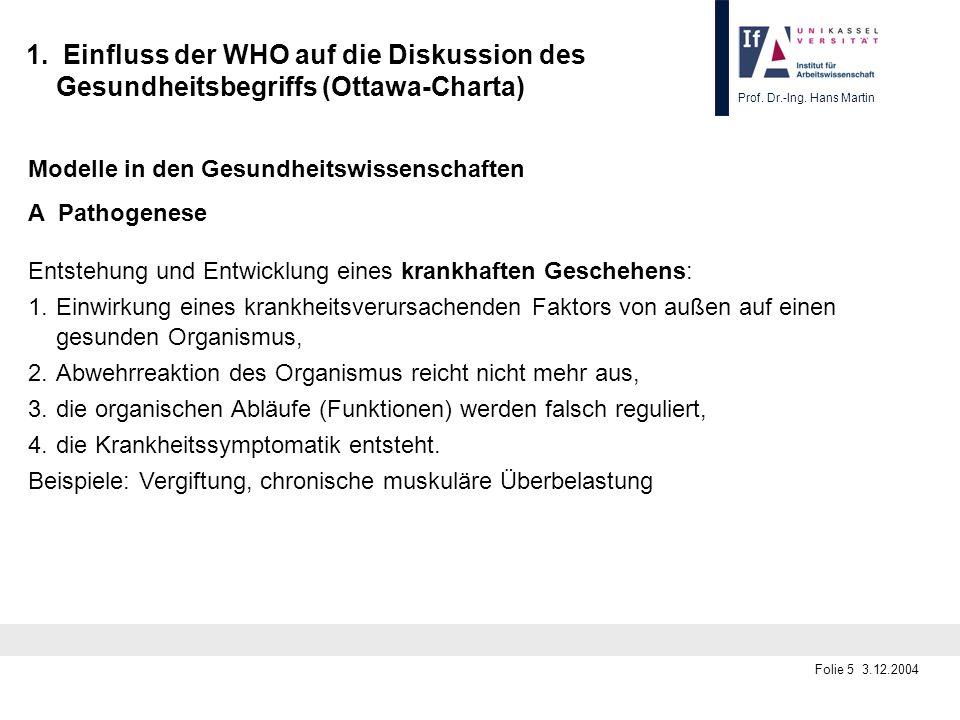 Prof. Dr.-Ing. Hans Martin Folie 5 3.12.2004 1. Einfluss der WHO auf die Diskussion des Gesundheitsbegriffs (Ottawa-Charta) Modelle in den Gesundheits