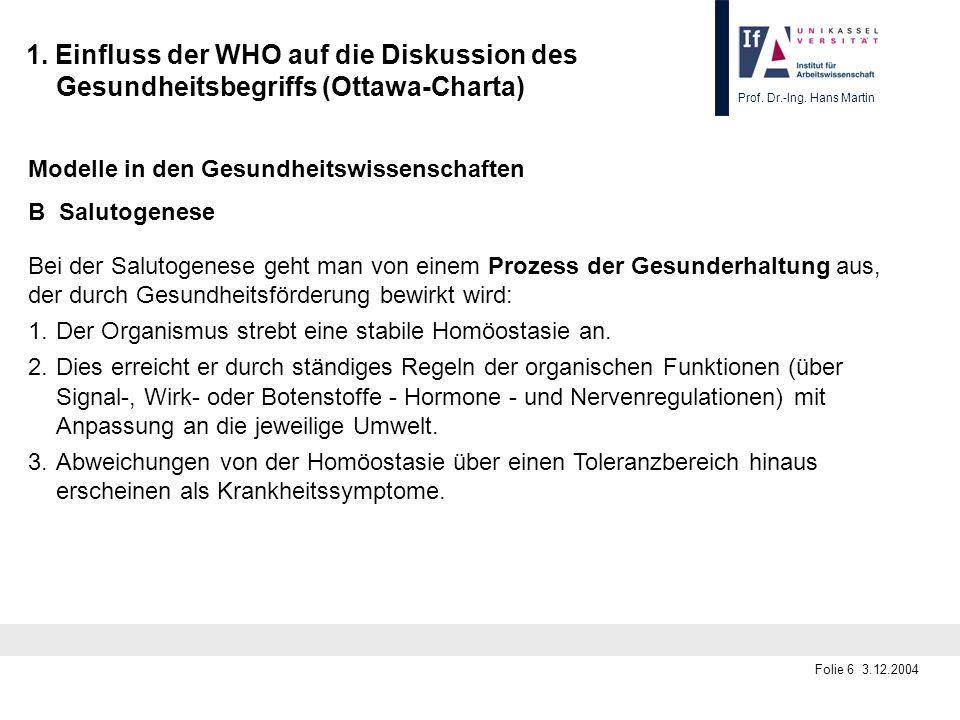 Prof. Dr.-Ing. Hans Martin Folie 6 3.12.2004 1. Einfluss der WHO auf die Diskussion des Gesundheitsbegriffs (Ottawa-Charta) Modelle in den Gesundheits