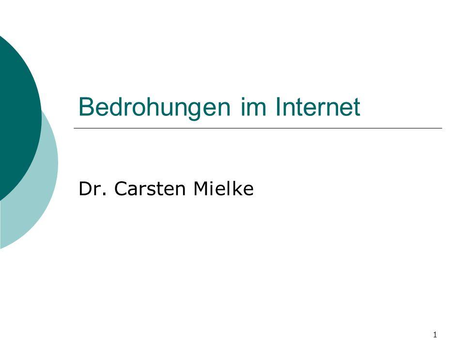 1 Bedrohungen im Internet Dr. Carsten Mielke