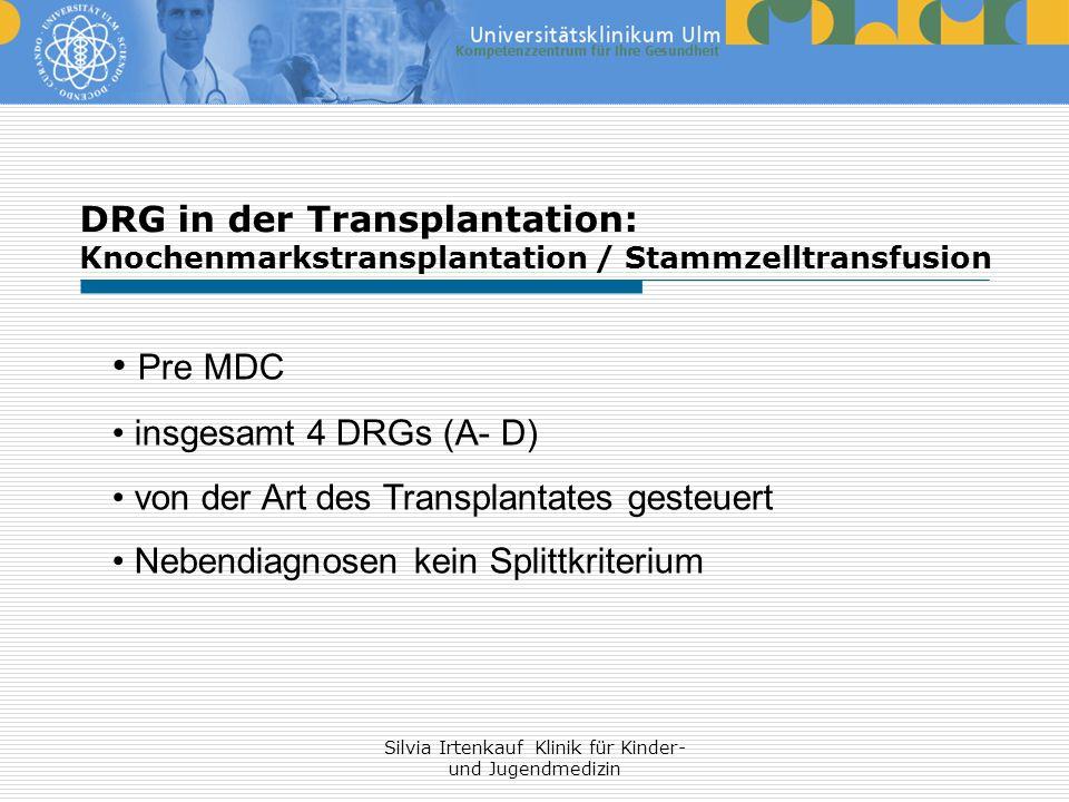 Silvia Irtenkauf Klinik für Kinder- und Jugendmedizin DRG in der Transplantation: Knochenmarkstransplantation / Stammzelltransfusion Pre MDC insgesamt