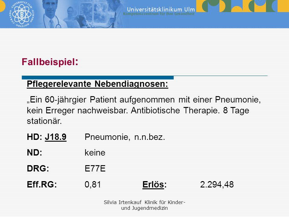 Silvia Irtenkauf Klinik für Kinder- und Jugendmedizin Fallbeispiel : Pflegerelevante Nebendiagnosen: Ein 60-jährgier Patient aufgenommen mit einer Pne