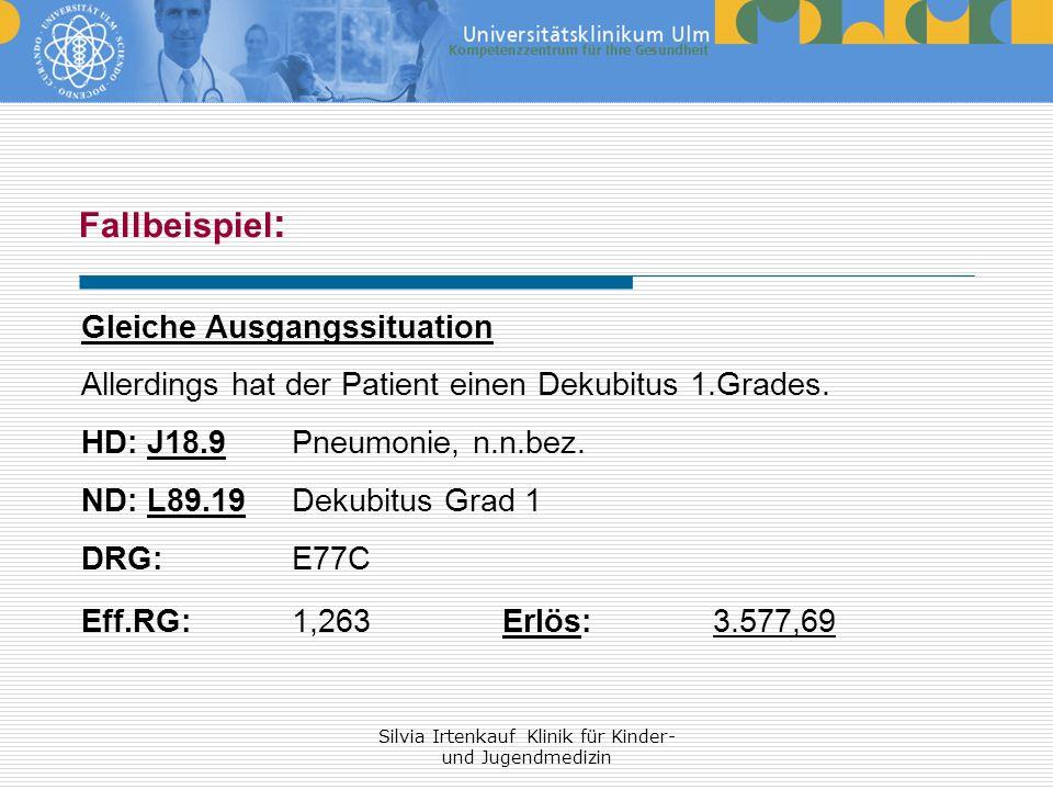 Silvia Irtenkauf Klinik für Kinder- und Jugendmedizin Fallbeispiel : Gleiche Ausgangssituation Allerdings hat der Patient einen Dekubitus 1.Grades. HD