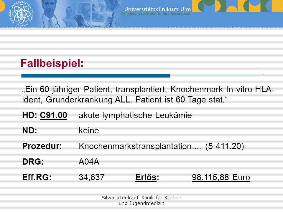 Silvia Irtenkauf Klinik für Kinder- und Jugendmedizin Fallbeispiel: Ein 60-jähriger Patient, transplantiert, Knochenmark In-vitro HLA- ident, Grunderk