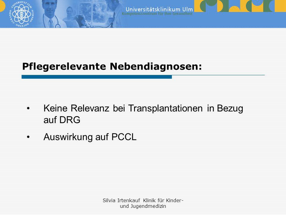 Silvia Irtenkauf Klinik für Kinder- und Jugendmedizin Keine Relevanz bei Transplantationen in Bezug auf DRG Auswirkung auf PCCL Pflegerelevante Nebend