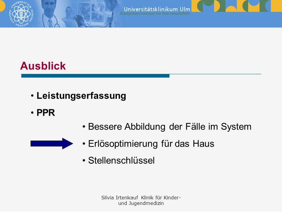 Silvia Irtenkauf Klinik für Kinder- und Jugendmedizin Ausblick Leistungserfassung PPR Bessere Abbildung der Fälle im System Erlösoptimierung für das H