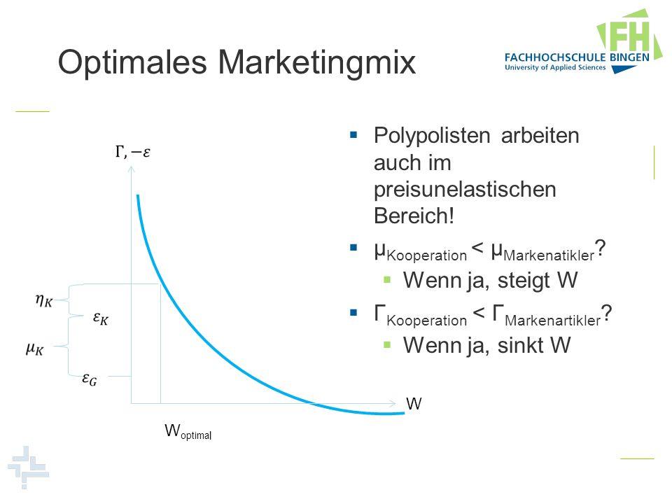 Optimales Marketingmix Polypolisten arbeiten auch im preisunelastischen Bereich! μ Kooperation < μ Markenatikler ? Wenn ja, steigt W Γ Kooperation < Γ