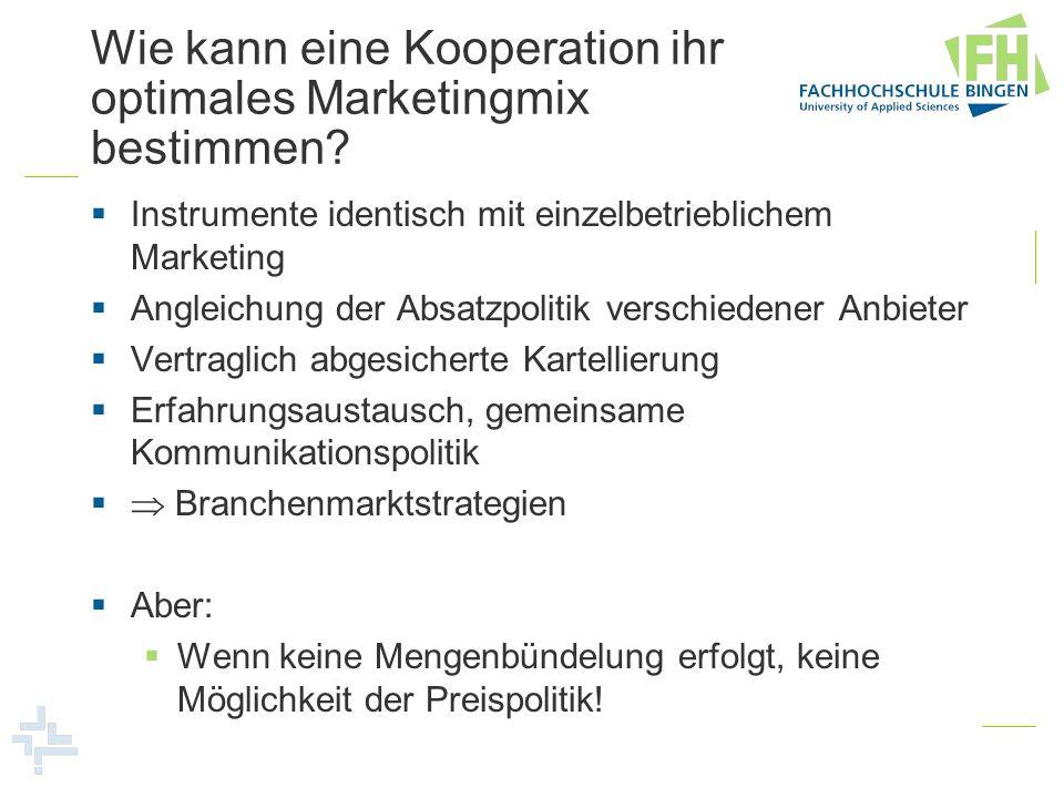 Wie kann eine Kooperation ihr optimales Marketingmix bestimmen? Instrumente identisch mit einzelbetrieblichem Marketing Angleichung der Absatzpolitik