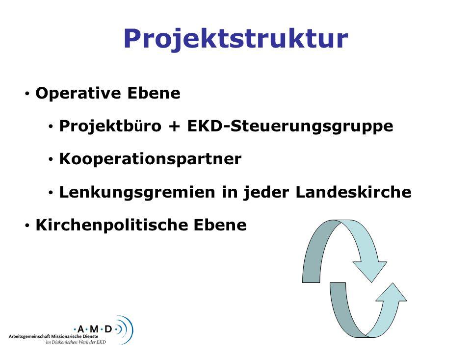 Projektstruktur Operative Ebene Projektb ü ro + EKD-Steuerungsgruppe Kooperationspartner Lenkungsgremien in jeder Landeskirche Kirchenpolitische Ebene